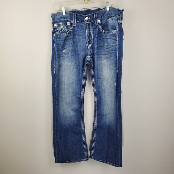 True Religion Boot Cut Jeans Distressed Faded Mens